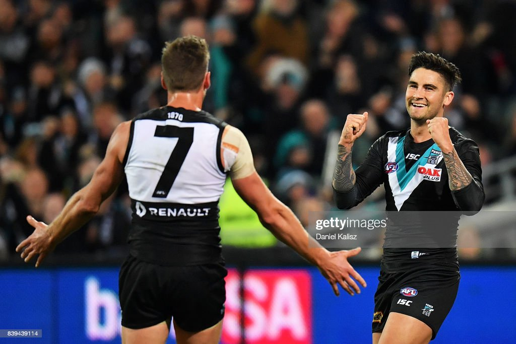 Chad Wingard of the Power celebrates with Brad Ebert of the Power after kicking a goal during the round 23 AFL match between the Port Adelaide Power and the Gold Coast Suns at Adelaide Oval on August 26, 2017 in Adelaide, Australia.