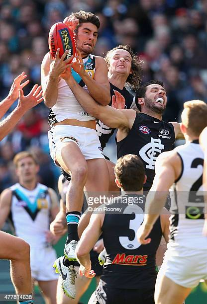 Chad Wingard of the Power marks whilst Dylan Buckley of the Blues attempts to spoil during the round 12 AFL match between the Carlton Blues and the...