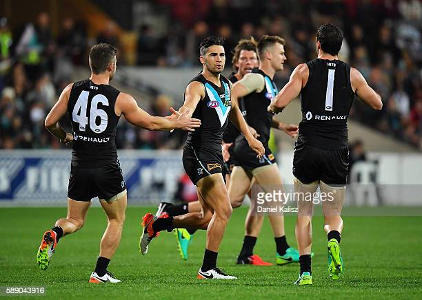 Chad Wingard of the Power reacts after kicking the Powers first goal during the round 21 AFL match between the Port Adelaide Power and the Melbourne...