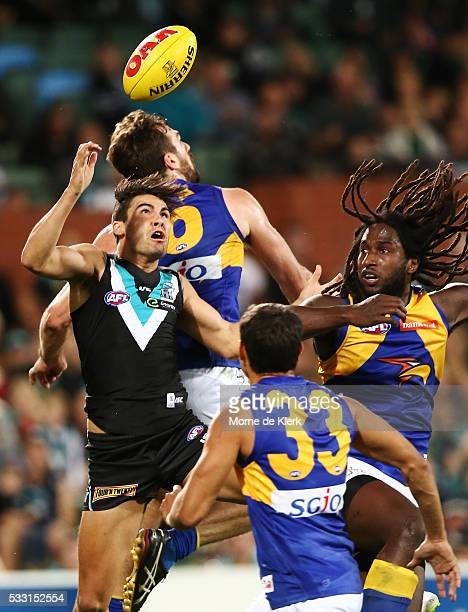 Chad Wingard of the Power takes a mark against Nic Naitanui of the Eagles during the round nine AFL match between the Port Adelaide Power and the...