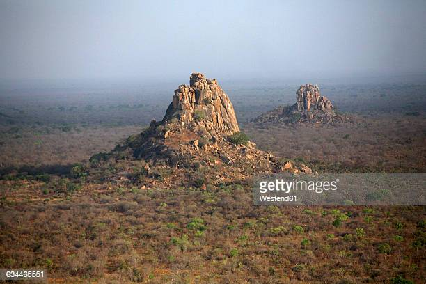 Chad, Zakouma National Park, aerial view of rock formations
