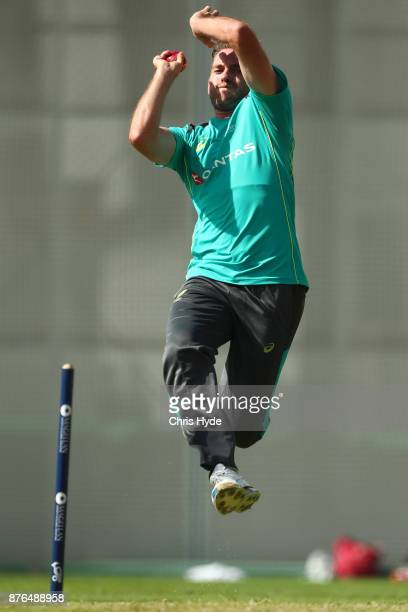 Chadd Sayers bowls during an Australia nets session at The Gabba on November 20 2017 in Brisbane Australia