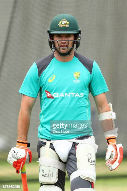 Chadd Sayers looks on during the Australian nets session at The Gabba on November 21 2017 in Brisbane Australia