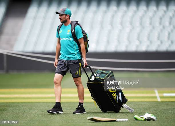 Chadd Sayers of Australia arrives to an Australian nets session at Adelaide Oval on November 29 2017 in Adelaide Australia