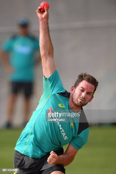 Chadd Sayers of Australia bowls during an Australian nets session at Adelaide Oval on November 29 2017 in Adelaide Australia