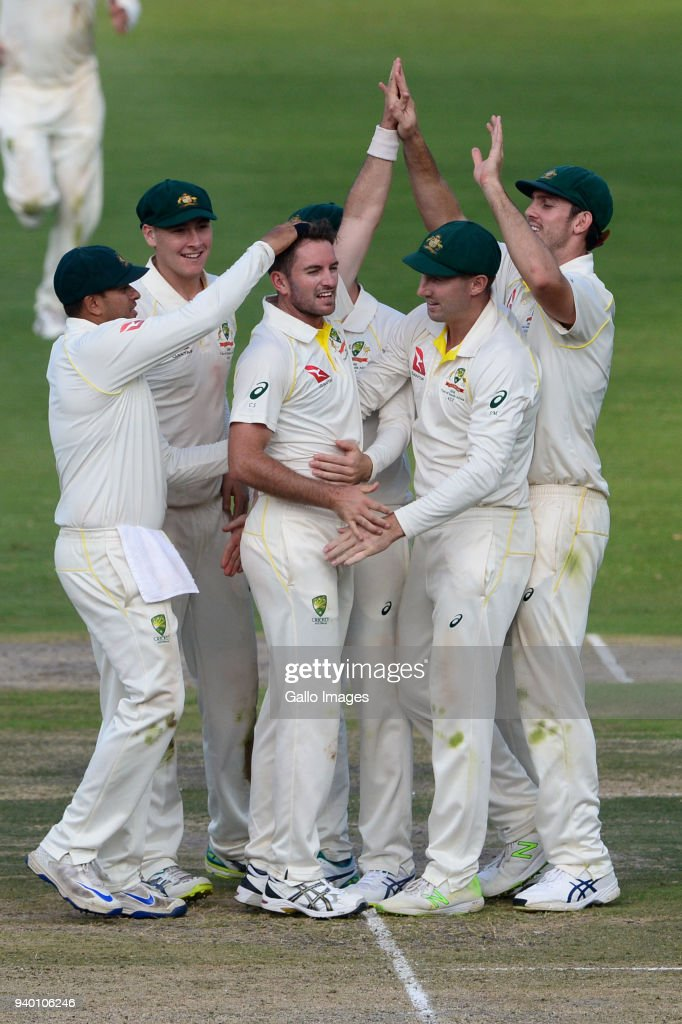 Chadd Sayers of Australia celebrates the wicket of AB de Villiers of the Proteas during day 1 of the 4th Sunfoil Test match between South Africa and Australia at Bidvest Wanderers Stadium on March 30, 2018 in Johannesburg, South Africa.