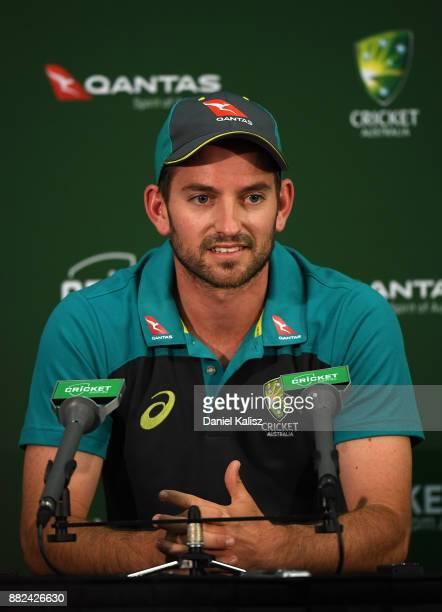 Chadd Sayers of Australia chats to the media during a press conference prior to an Australian nets session at Adelaide Oval on November 30 2017 in...