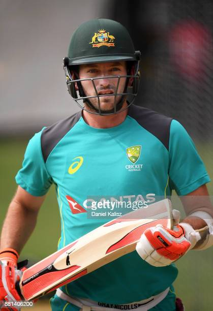 Chadd Sayers of Australia looks on during an Australian nets session at Adelaide Oval on November 29 2017 in Adelaide Australia