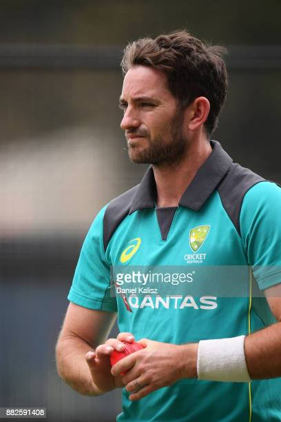 Chadd Sayers of Australia looks on during an Australian nets session at Adelaide Oval on November 30 2017 in Adelaide Australia
