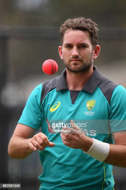 Chadd Sayers of Australia prepares to bowl during an Australian nets session at Adelaide Oval on November 30 2017 in Adelaide Australia