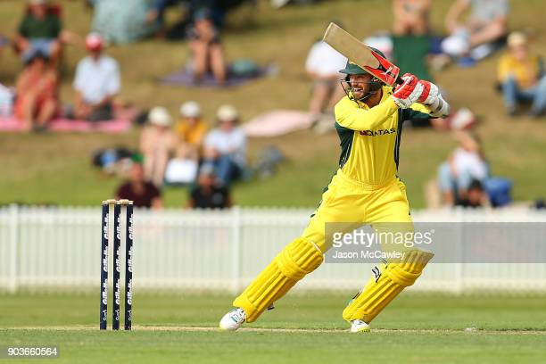 Chadd Sayers of CA XI bats during the One Day Tour Match between the Cricket Australia XI and England at Drummoyne Oval on January 11 2018 in Sydney...