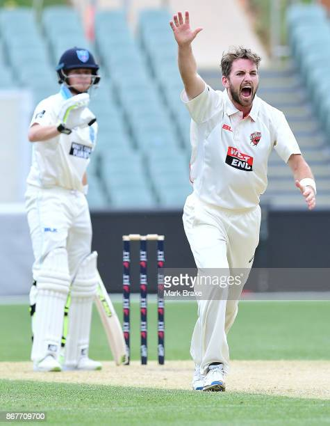 Chadd Sayers of South Australia appeals against Steve Smith captain of New South Wales during day three of the Sheffield Shield match between South...