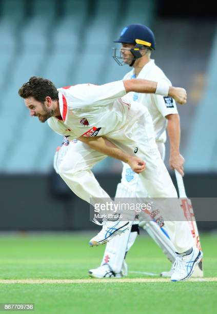 Chadd Sayers of South Australia bowling during day three of the Sheffield Shield match between South Australia and New South Wales at the Adelaide...