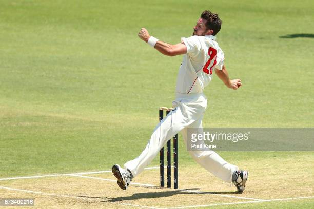 Chadd Sayers of South Australia bowls during day one of the Sheffield Shield match between Western Australia and South Australia at WACA on November...