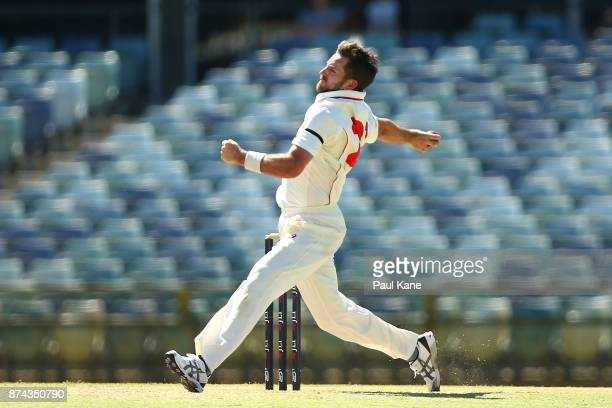 Chadd Sayers of South Australia bowls during day three of the Sheffield Shield match between Western Australia and South Australia at WACA on...