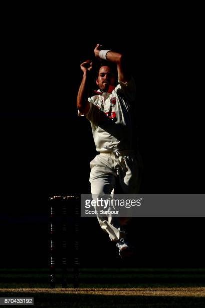 Chadd Sayers of South Australia bowls during day two of the Sheffield Shield match between Victoria and South Australia at the Melbourne Cricket...