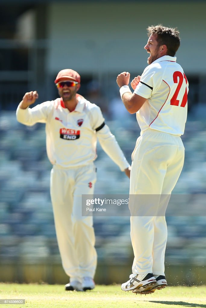 Chadd Sayers of South Australia celebrates the wicket of Ashton Turner of Western Australia during day three of the Sheffield Shield match between Western Australia and South Australia at WACA on November 15, 2017 in Perth, Australia.
