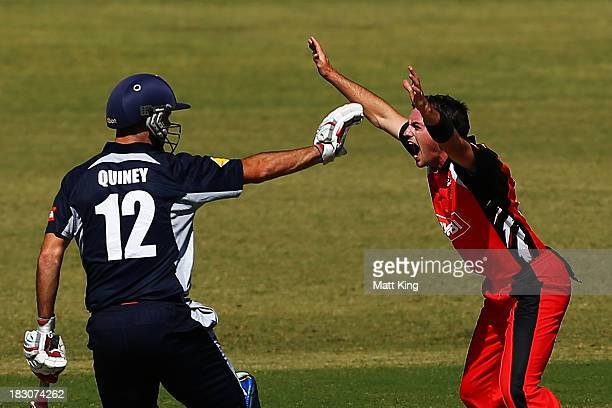 Chadd Sayers of the Redbacks appeals unsuccessfully for the wicket of Matthew Wade of the Bushrangers as Rob Quiney calls off a run during the Ryobi...