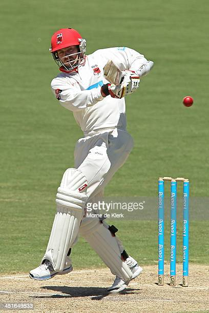 Chadd Sayers of the Redbacks bats during day three of the Sheffield Shield match between the South Australia Redbacks and the Tasmania Tigers at...