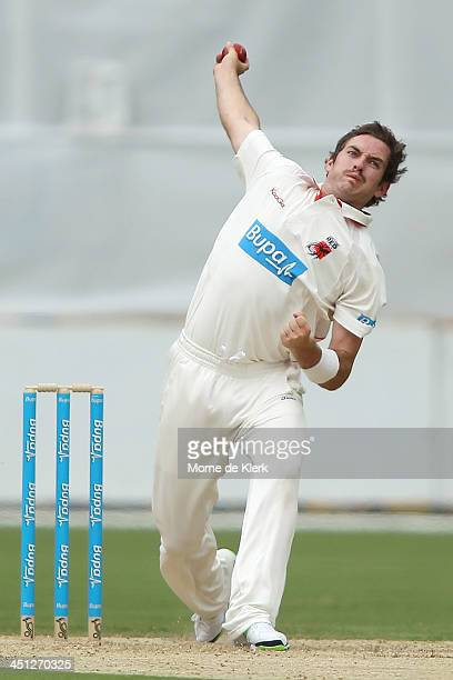 Chadd Sayers of the Redbacks bowls during day one of the Sheffield Shield match between the South Australia Redbacks and the Tasmania Tigers at...