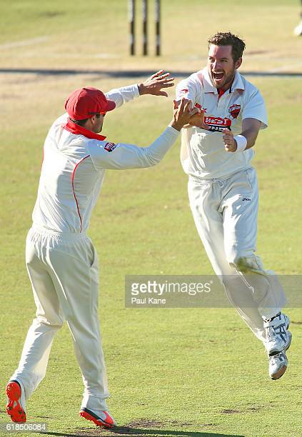 Chadd Sayers of the Redbacks celebrates after dismissing Mitchell Marsh of the Warriors for a golden duck during day three of the Sheffield Shield...
