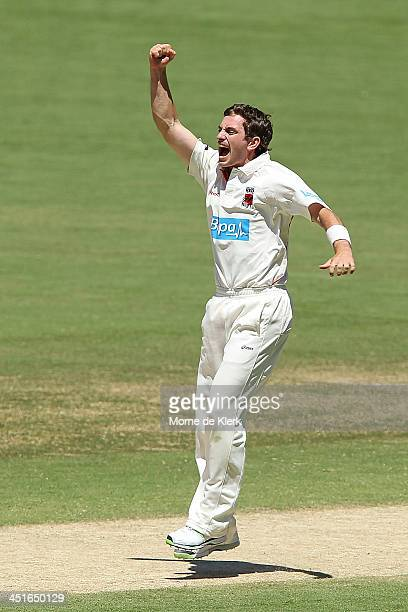Chadd Sayers of the Redbacks celebrates after getting a wicket during day three of the Sheffield Shield match between the South Australia Redbacks...