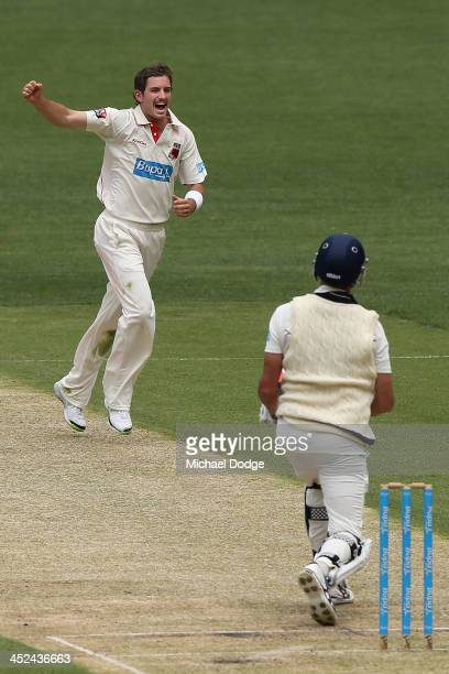 Chadd Sayers of the Redbacks celebrates the dismissal of John Holland of the Bushrangers during day one of the Sheffield Shield match between the...