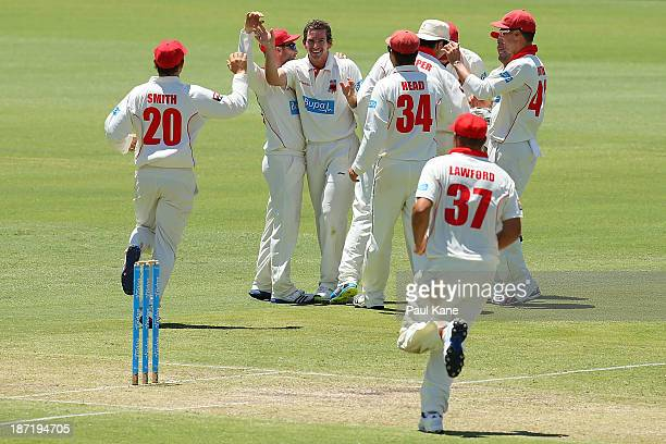 Chadd Sayers of the Redbacks celebrates the wicket of Marcus North of the Warriors during day two of the Sheffield Shield match between the Western...