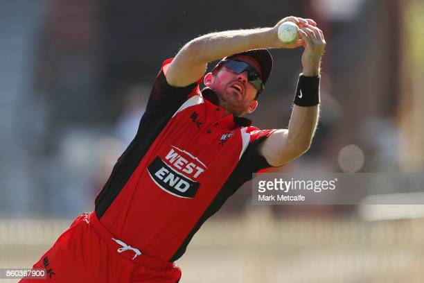 Chadd Sayers of the Redbacks drops a catch during the JLT One Day Cup match between Victoria and South Australia at North Sydney Oval on October 12...