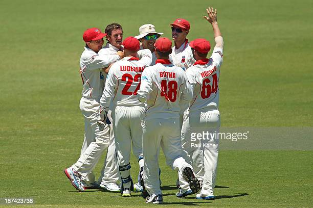 Chadd Sayers of the Redbacks is congratulated by team mates after dismissing John Rogers of the Warriors during day four of the Sheffield Shield...