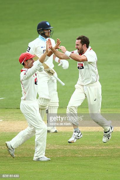 Chadd Sayers of the SA Redbacks celebrates after taking the wicket of Ryan Gibson of the NSW Blues during day three of the Sheffield Shield match...