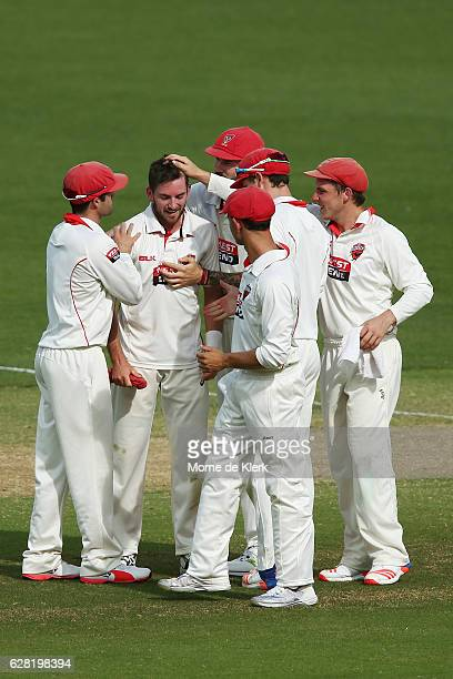 Chadd Sayers of the SA Redbacks is congratulated by teammates after he got his fifth wicket of the innings during day three of the Sheffield Shield...
