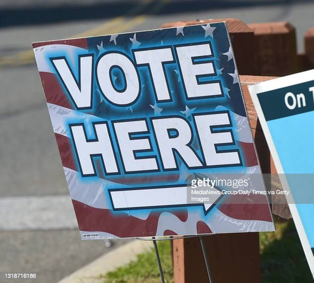 Chadds Ford, PA. May,18 : A sign directs voters to the polls in Chadds Ford. .