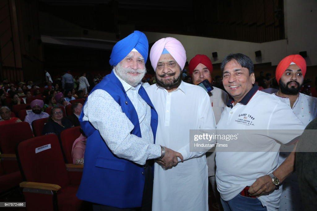 Chadha and Raja Randhir Singh during Baisakhi Gala organized by World Punjabi Organization at Sirifort Auditorium on April 13 2018 in New Delhi India