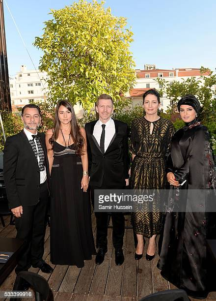 Chadi Zeneddine Lauren Mekhael Alexandre MalletGuy Hanaa Issa and Doha Film Institue CEO Fatma Al Remaihi attend a dinner to celebrate Asghar...