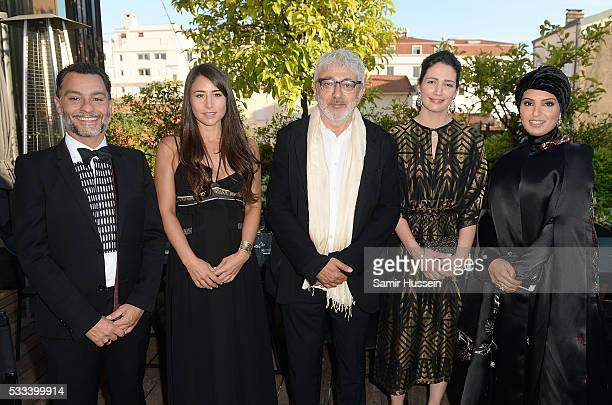 Chadi Zeneddine Lauren Mekhael Elia Suleiman Hanaa Issa and Doha Film Institue CEO Fatma Al Remaihi attend a dinner to celebrate Asghar Farhadi's The...