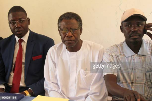 Chadian civil society leader Mahamat Nour Ibedou is seen during a press conference in N'Djamena on February 5 2018 during which he renewed calls for...