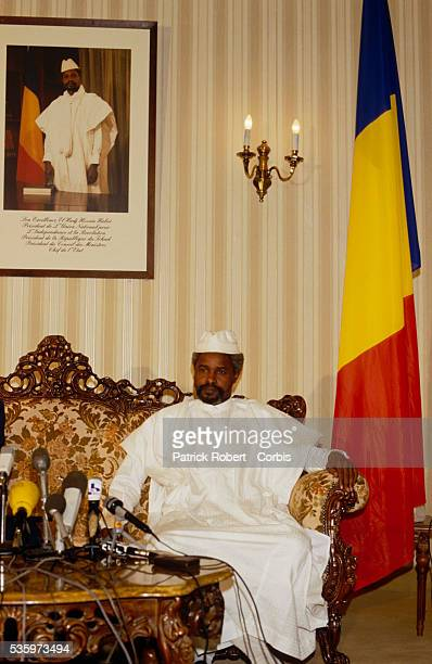 Chadian head of state Hissen Habre speaks to the press before his visit with President Mobutu Sese Seko of Zaire, later the Republic of Congo. Habre...