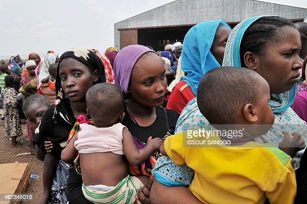 Chadian nationals and others from other moslem countries fleeing interreligious violence wait at the Bangui air force base for their evacuation to...