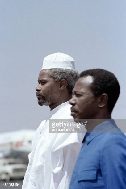 Chadian President Hissene Habre and his counterpart Ethiopian President Mengistu Haile Mariam arrive at Lusaka airport, on July 27, 1987 to attend...