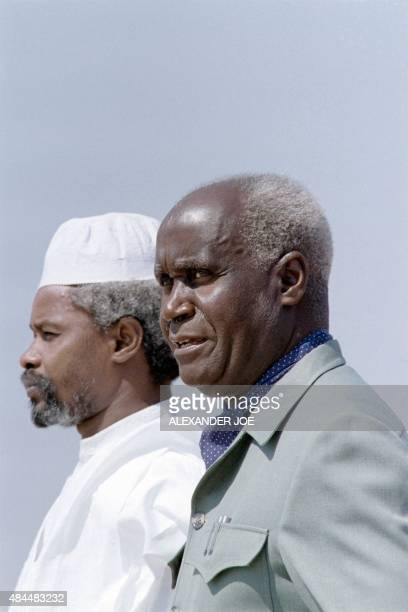 Chadian President Hissene Habre is welcomed by President of Zambia Kenneth Kaunda , on September 23, 1987 at Lusaka airport, Zambia, to attend the...