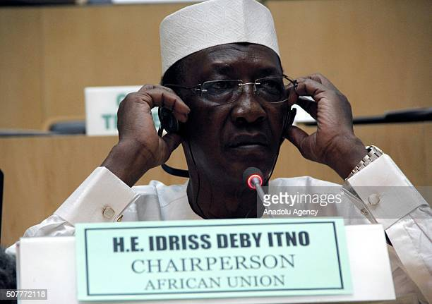 Chadian President Idris Deby Itno gives a speech during a session within the 26th African Union Summit in Addis Ababa Ethiopia on January 31 2016