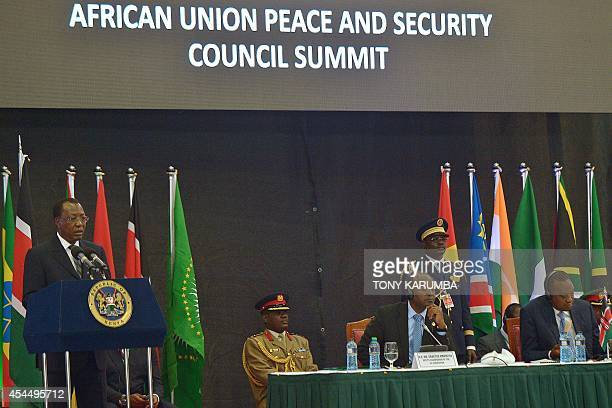 Chadian President Idriss Deby addresses the opening of the African Union Peace and Security Summit in Nairobi on September 2 2014 African leaders...