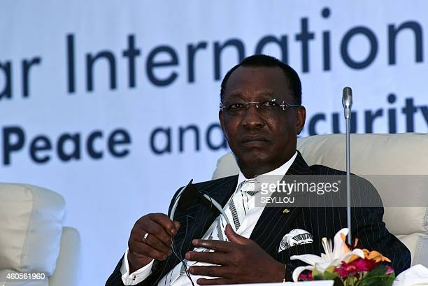Chadian President Idriss Deby Itno attends the last day of the International Forum on Peace and Security in Africa in Dakar on December 16 2014...