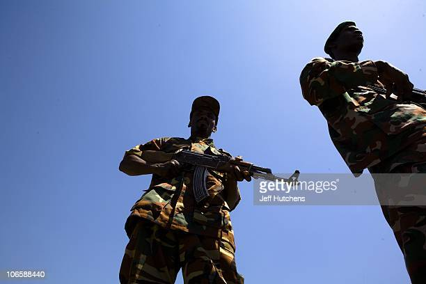 Chadian soldiers train before going on patrol in the bush of Zakouma National Park to stop the poachers attempting to kill elephants for their ivory...