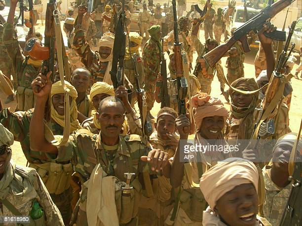 Chadian troops celebrate after routing rebel forces in Am Zoer northeast of the capital Abeche on June 18 killing more than 160 rebels and halting a...