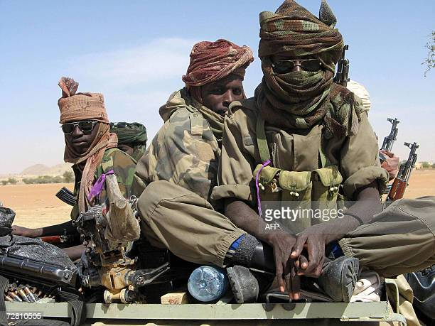 Chadian troops patrol governemental troups deployed in town after the fighting with UFDD rebels in this 11 December 2006 picture from Biltine in the...