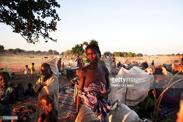 Chadian village women protect their children by sheltering under trees in a spontaneous site for internally displaced Chadians November 10 2006 at...