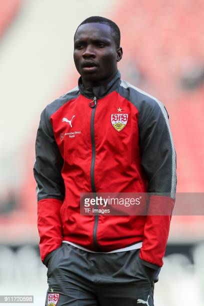 Chadrac Akolo Ababa of Stuttgart looks on prior to the Bundesliga match between VfB Stuttgart and FC Schalke 04 at MercedesBenz Arena on January 27...