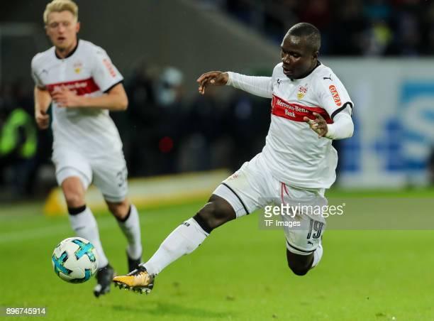 Chadrac Akolo of Stuttgart controls the ball during the Bundesliga match between TSG 1899 Hoffenheim and VfB Stuttgart at Wirsol RheinNeckarArena on...